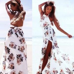 NWOT! A Gorgeous Maxi Dress White Floral Tie Back